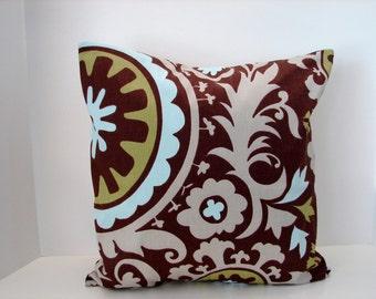 "Sale 16"" X 16""  brown, blue, green , gray Suzani premier prints designer fabric- decorative pillow cover-throw pillow-accent pillow"