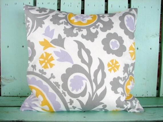 "New 18"" X 18""  corn yellow, white, gray, lilac Suzani premier prints designer fabric- decorative pillow cover-throw pillow-accent pillow"