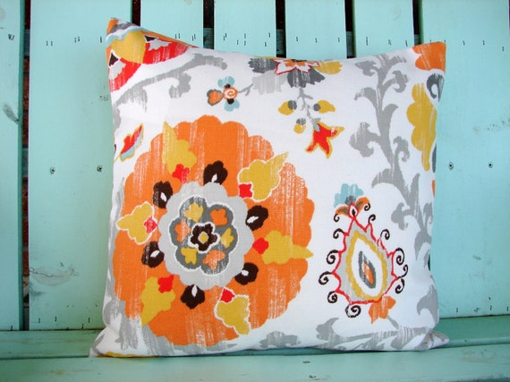 "New 18"" X 18""  Coral, gray, blue, yellow,orange outdoor/indoor suzani print fabric- decorative pillow cover-throw pillow-accent pillow"