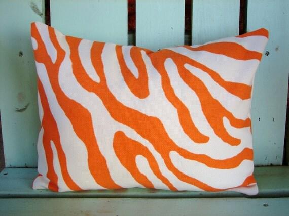 "New 12"" X 16"" orange, white zebra contemporary print designer outdoor indoor fabric- decorative pillow cover-throw pillow-accent pillow"