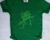 happy baby,  very cute, bamboo, Onesie, Ultra soft - 8.5 oz. -Tree Frog (green) - hand printed,