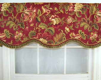 Countess French Pleated Ruffle Valance in red