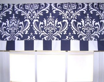 Navy Damask and Stripe Straight Valance