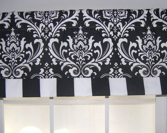 Black Damask Striped Straight Valance