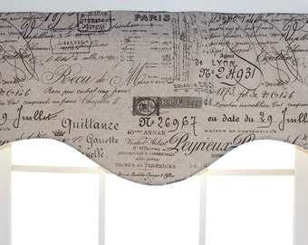 French script shaped valances in fossil,linen,,