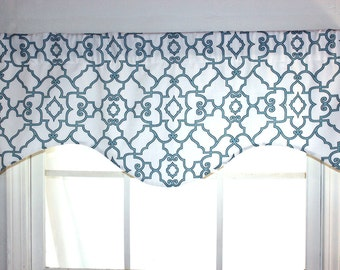 Garden Gate Shaped Valance in Blue and Yellow