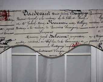 Red Postmark French Script Shaped Valance in Navy