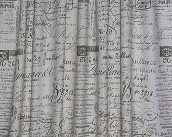 French Script Shower Curtain-Sepia Color Shown
