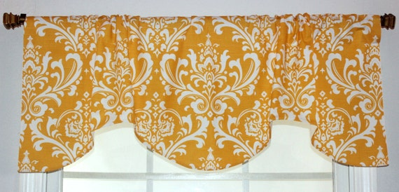 Damask Gathered Shaped Valance available in gold, navy, black ,pink, grey and brown