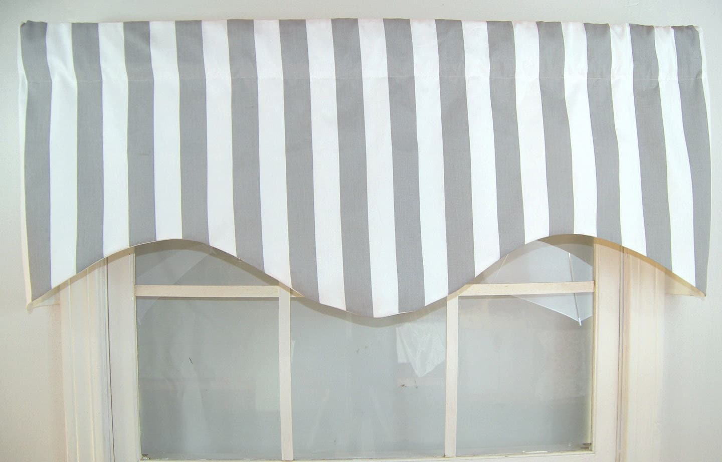 Awning Striped Shaped Valance in grey and whitenavy and