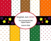 Autumn Polka Dots Digital Scrapbook Papers Commercial Use - Printable Papers - INSTANT DOWNLOAD - Orange, Green, Red