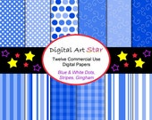 INSTANT DOWNLOAD Digital Scrapbook Papers Commercial Use Printable Papers - Winter, Baby Boy, Christmas - Dots, Stripes, Gingham