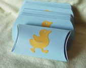 Baby blue pillow box with yellow duckie chick shower favor X12
