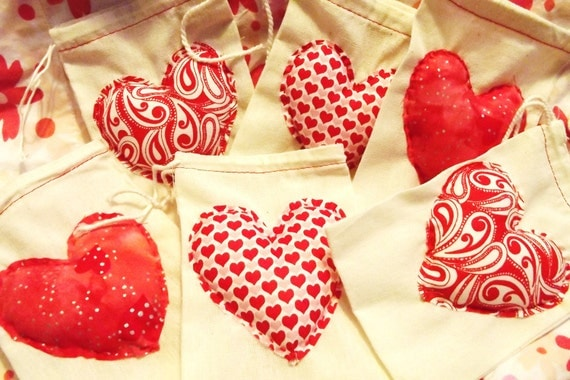 Hand stitched and stuffed red Valentine love hearts muslin favor bag