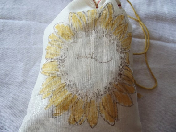 Smile sunflower hand stamped and  colored muslin thank you party favor bag