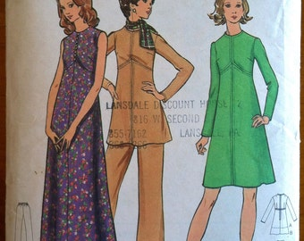 1970's Butterick Maxi Dress, Tunic and Pants Pattern - Bust 32 1/2 - no. 6878