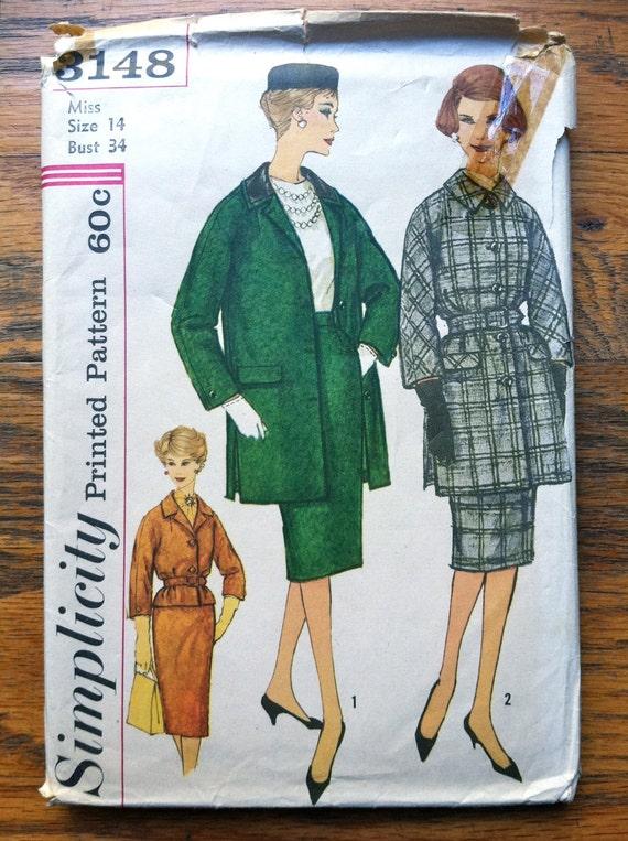 1950's Simplicity Misses' Walking Suit Pattern - Bust 34