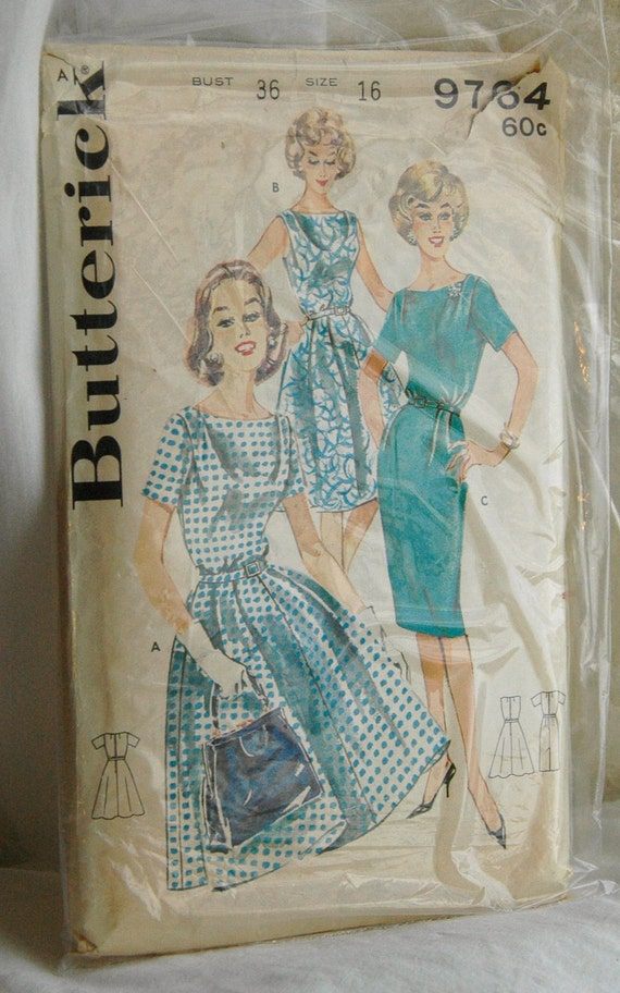 1960's Butterick Dress Pattern with Two Skirts - Bust 36 - no. 9764