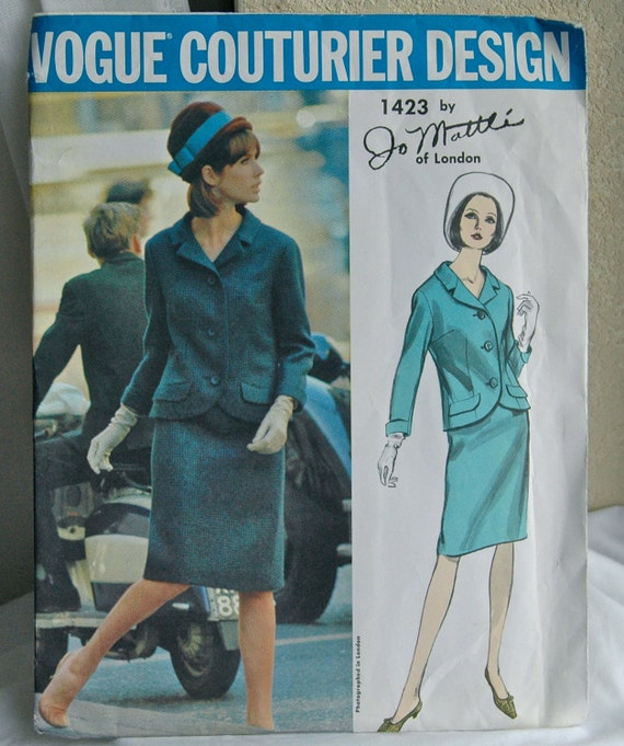 1960's Vogue Couturier Design Jo Mattle Suit Pattern - Bust 34 - UNCUT - no. 1423
