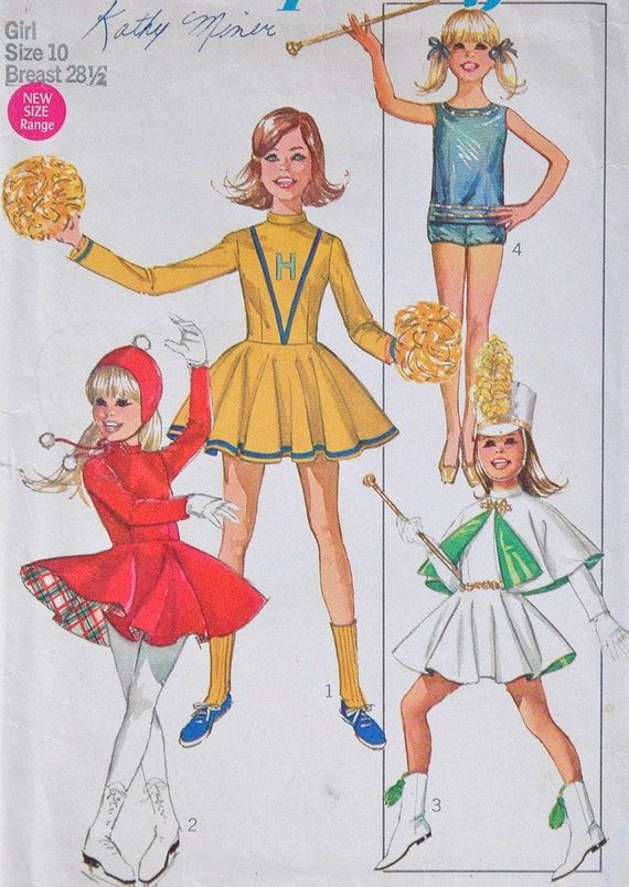 """1960's Simplicity Cheerleader, Majorette, and Ice Skating Costume - Breast 28 1/2"""" - no. 7937"""