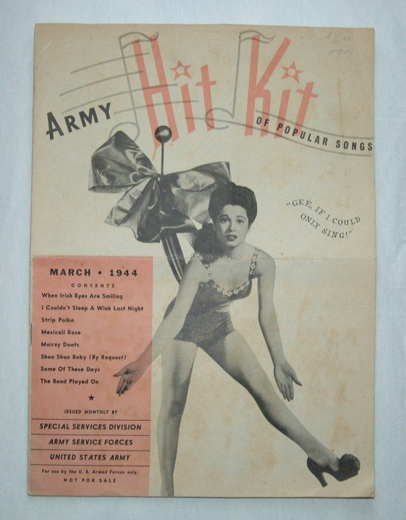1940's  United States Army Songbook - Army Hit Kit of Popular Songs