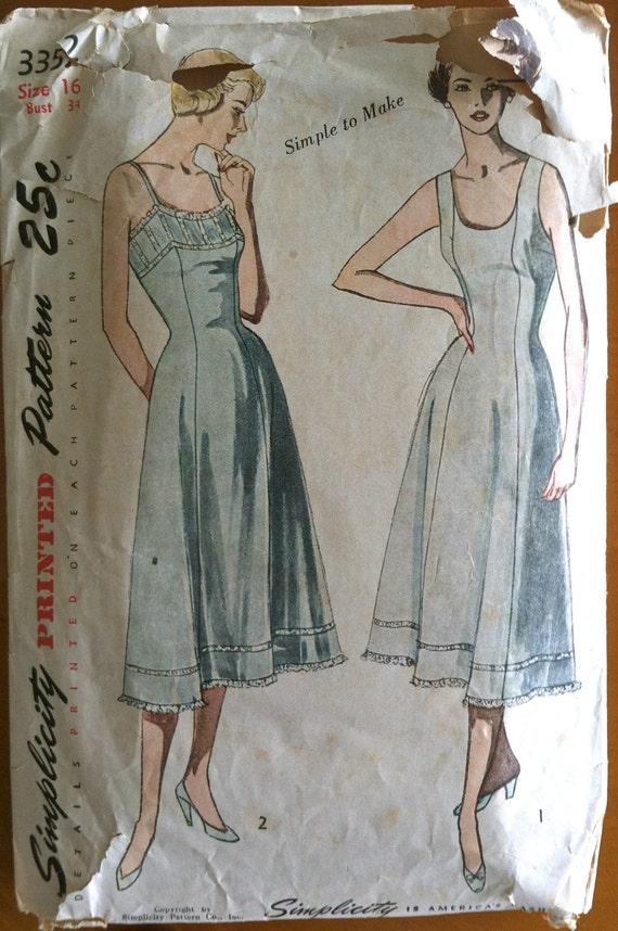 1950's Simplicity Slip Pattern - Bust 34 - no. 3352