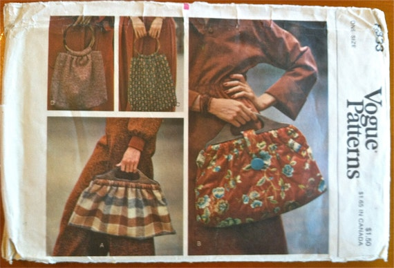 1970's Vogue Purse and Tote Pattern - no. 8833