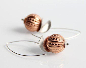 Silver & Copper Earrings - Mixed Metal, Etched Beads, Long, Marquis Ear Wires, Sterling Silver