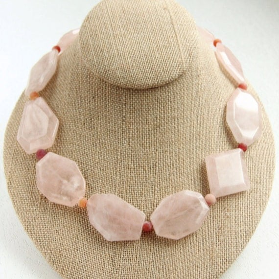 Rose Quartz Necklace - Shell Pink, Chunky, Faceted Gemstones