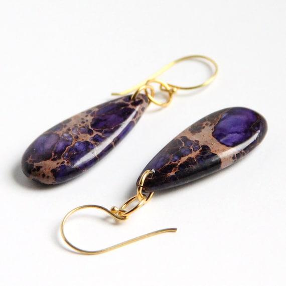 Purple Jasper Earrings - Aqua Terra, Purple Turquoise, Violet, Gold Vermeil, Gemstone