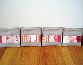 Quilted patchwork coasters - pinks - set of 4