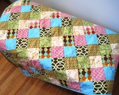Patchwork Baby Quilt - hand-quilted - modern fabrics- pink, aqua, green, brown
