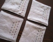 Hand-stitched linen coasters - pink, yellow and grey - set of 4