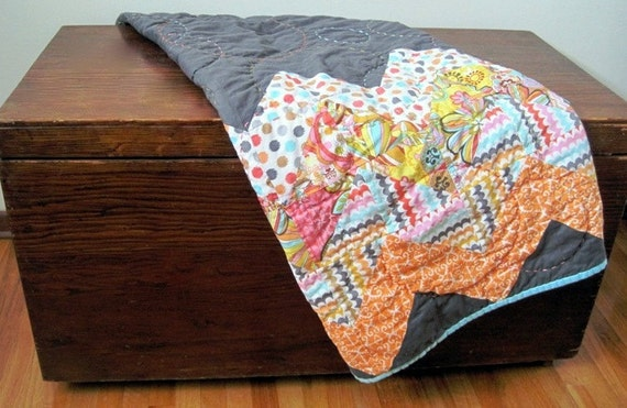Reserved listing for Andrea T. - Hand-quilted Modern Baby Quilt - busy chevron design - custom order - DEPOSIT ONLY