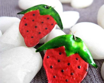 Yummy Strawberries. Hammered and Painted Nickel Silver Earrings
