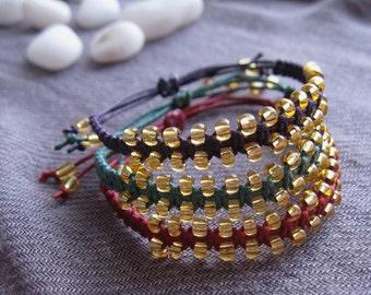 Macramé Beaded Friendship Bracelets, Set Of 3