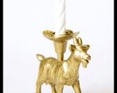 Metallic Gold Goat Candle Holder