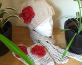 Off white sparkle with red winterset - hat beanie with flowers, matching fingerless gloves and cozy scarf