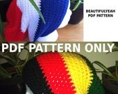 PDF PATTERN - For rasta or solid slouchy hat beanie - stripes, african, jamaica, crochet