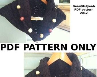 PDF PATTERN - For easy beaded warm cowl - crochet