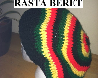 PDF PATTERN - For rasta or solid slouchy beret hat beanie - stripes, african, jamaica, crochet