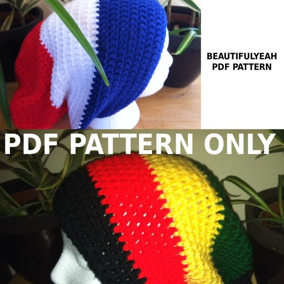 Easy Crochet Rasta Hat Pattern : PDF PATTERN For rasta or solid slouchy hat beanie by ...