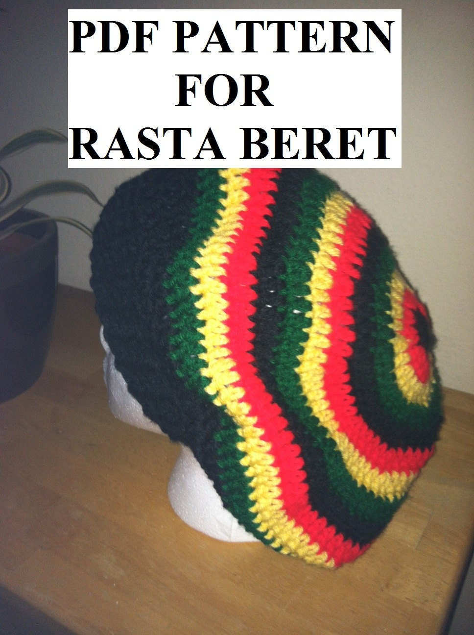 Easy Crochet Rasta Hat Pattern : PDF PATTERN For rasta or solid slouchy beret hat beanie