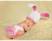 Baby Girl Hat Too Cute 3 to 6 months Baby Boy or Girl Crochet  Bunny Hat/Diaper Cover More Colors FREE  Shipping Easter Set