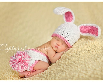 READY Baby Girl Bunny Hat ORIGINAL DESIGNER  Too Cute Newborn Baby Boy or Girl Crochet  Bunny Hat/Diaper Cover More Colors  Easter Set