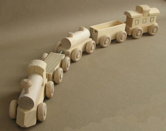 "Wooden Toy Train.  The ""No Paint"" Special. A handmade toy.  A natural wood toy."
