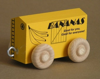 Wooden Toy Train Banana Car
