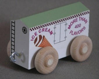 Ice Cream Car with Pistachio roof.  For wooden toy train.