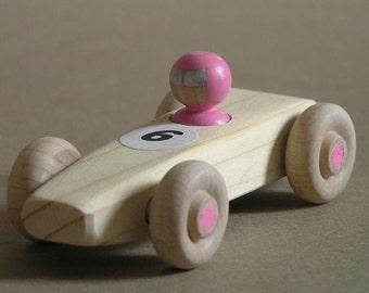 Pink Wooden Race Car