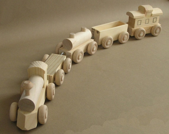 Wooden Toy Train. The No Paint Special. by Aero1Toys on Etsy